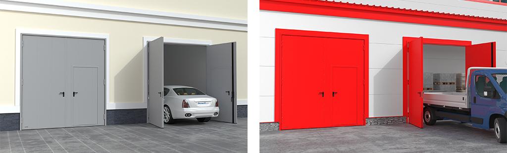 Распашные гаражные ворота из панелей с заполнением минеральной ватой