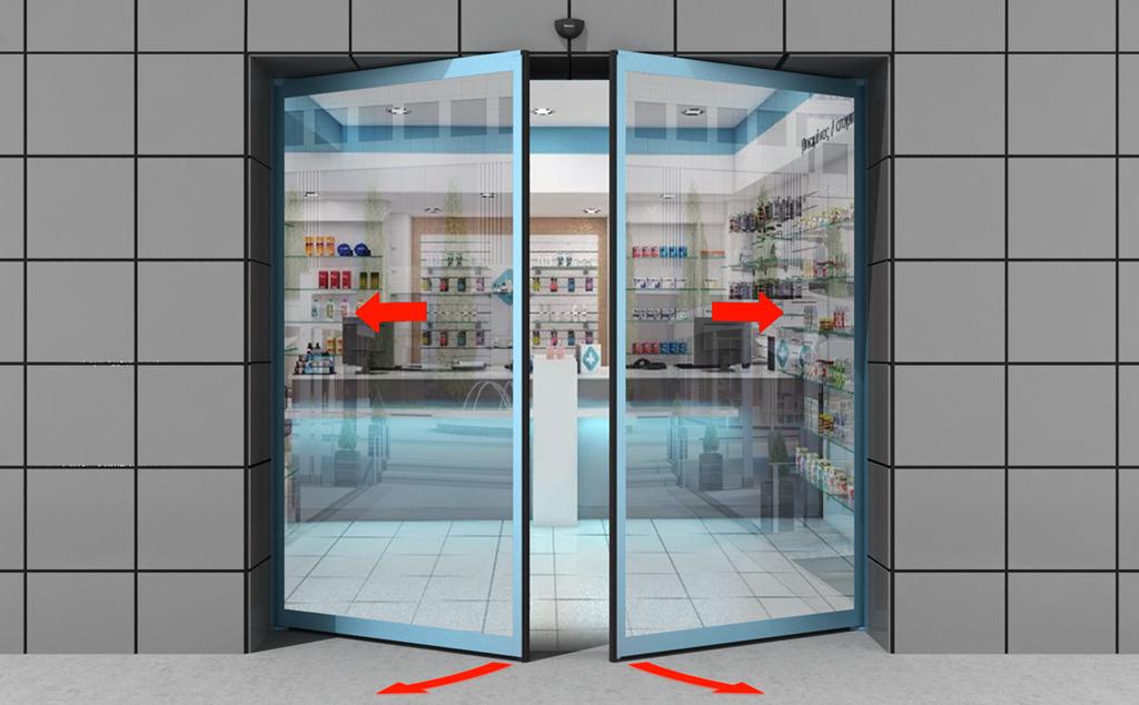 Производство автоматических раздвижных дверей «Антипаника» с функцией распахивания створок