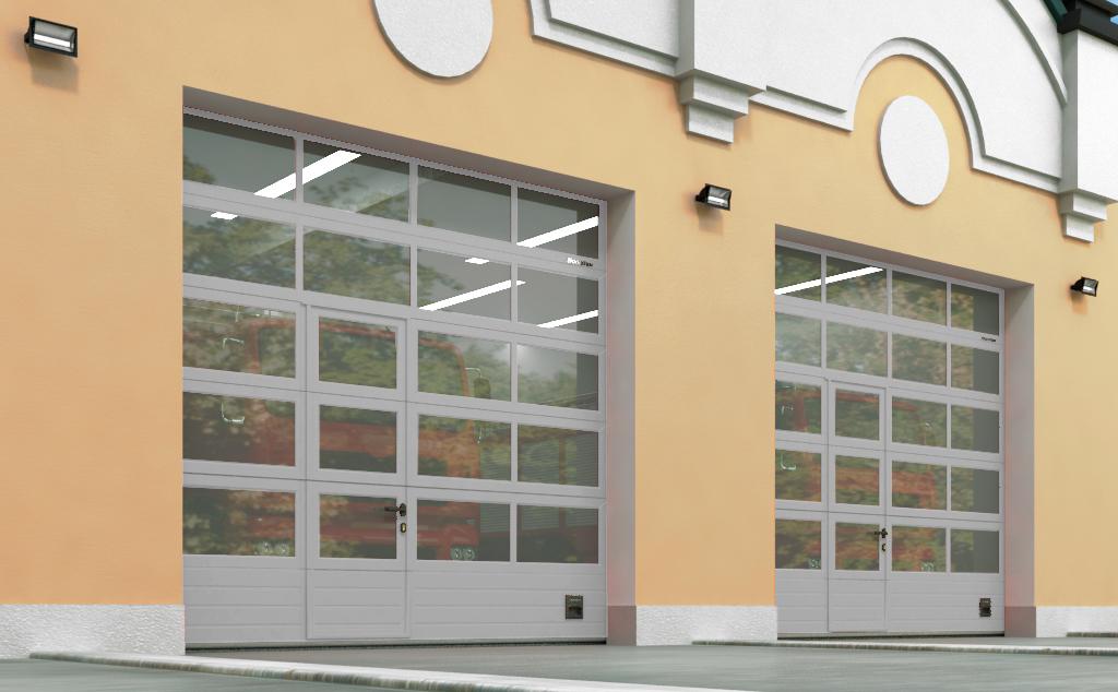 Промышленные секционные ворота ISD01 и ISD02 с панорамным остеклением