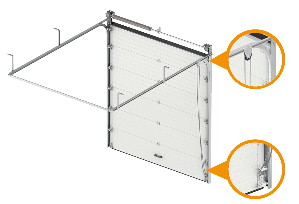 Новая система подъема полотна секционных ворот! Ручной веревочный привод